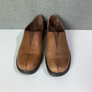 Brown leather slip on loafers